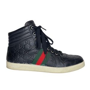 GUCCI BLACK LEATHER GUCCISSIMMA MID TOP SNEAKERS WOMENS (7 US)